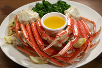Delicious Atlantic snow crab on a white plate